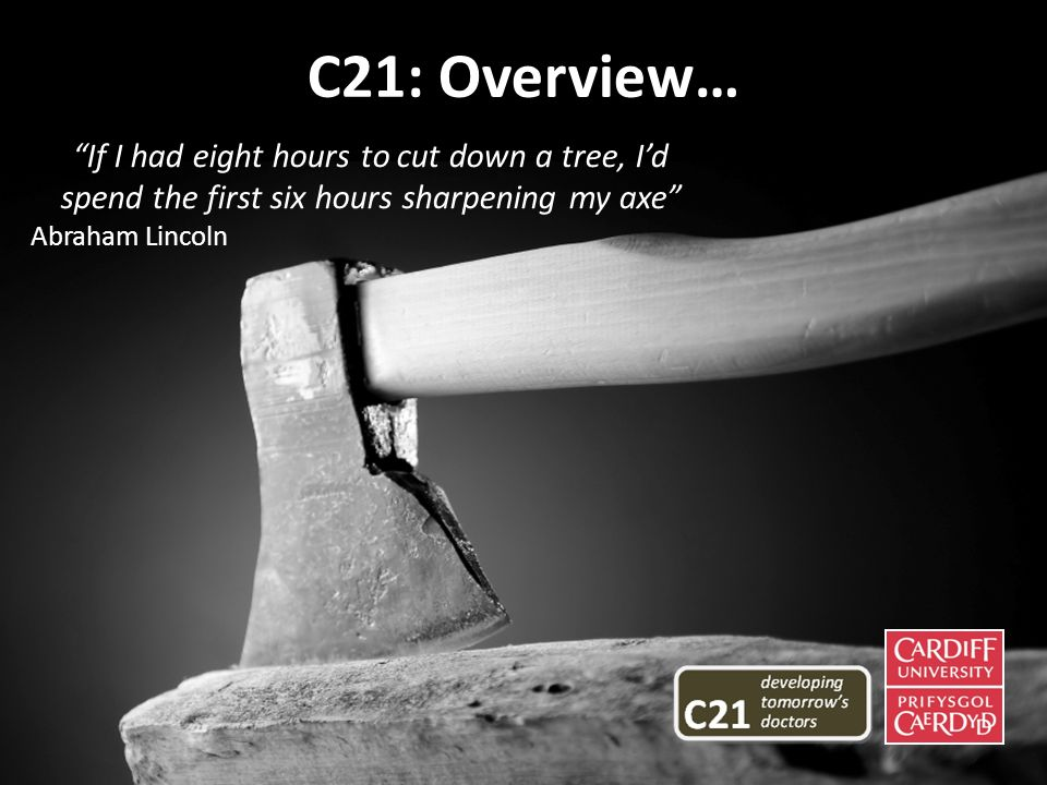 If I had eight hours to cut down a tree, Id spend the first six hours sharpening my axe Abraham Lincoln C21: Overview…
