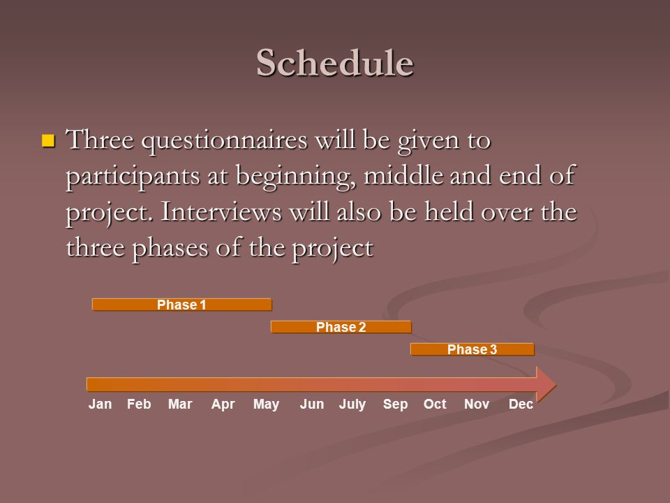 Schedule Three questionnaires will be given to participants at beginning, middle and end of project.