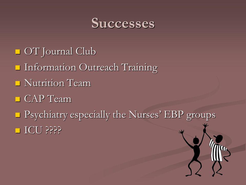 Successes OT Journal Club OT Journal Club Information Outreach Training Information Outreach Training Nutrition Team Nutrition Team CAP Team CAP Team