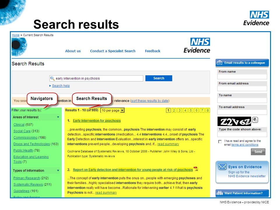 NHS Evidence – provided by NICE Search results