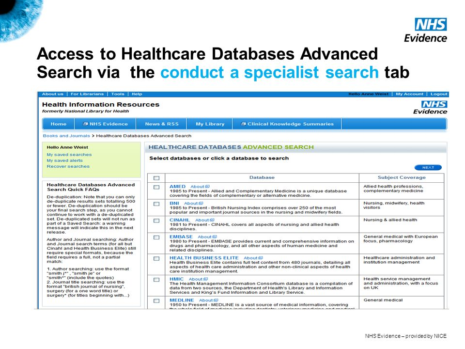 NHS Evidence – provided by NICE Access to Healthcare Databases Advanced Search via the conduct a specialist search tab