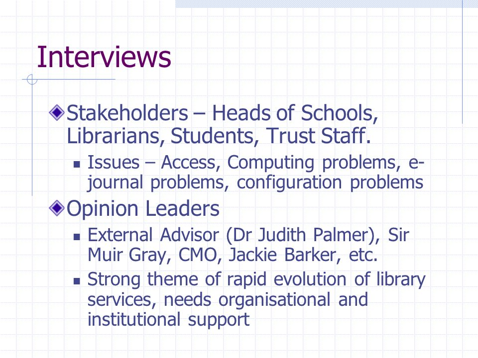 Interviews Stakeholders – Heads of Schools, Librarians, Students, Trust Staff.