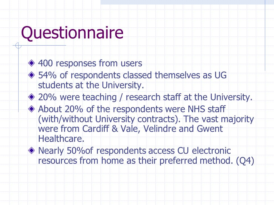Questionnaire 400 responses from users 54% of respondents classed themselves as UG students at the University.