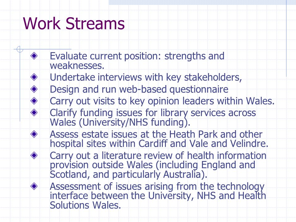 Work Streams Evaluate current position: strengths and weaknesses.