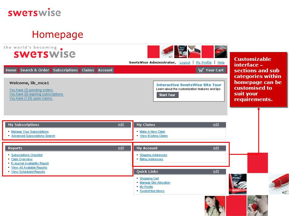 Customizable interface – sections and sub categories within homepage can be customised to suit your requirements. Homepage