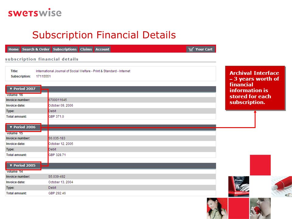 Archival Interface – 3 years worth of financial information is stored for each subscription.