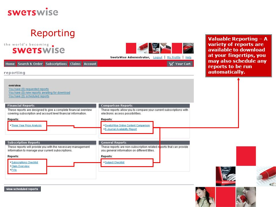 Valuable Reporting – A variety of reports are available to download at your fingertips, you may also schedule any reports to be run automatically. Rep