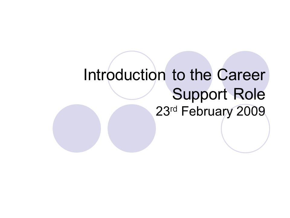 Introduction to the Career Support Role 23 rd February 2009
