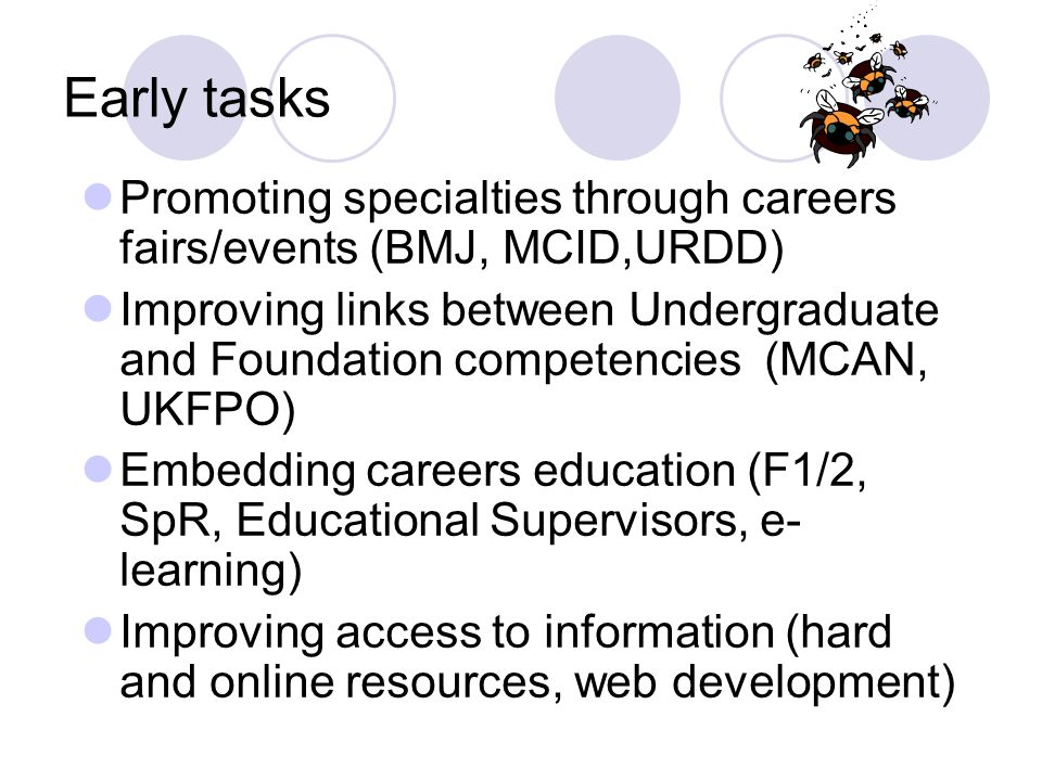 Early tasks Promoting specialties through careers fairs/events (BMJ, MCID,URDD) Improving links between Undergraduate and Foundation competencies (MCAN, UKFPO) Embedding careers education (F1/2, SpR, Educational Supervisors, e- learning) Improving access to information (hard and online resources, web development)