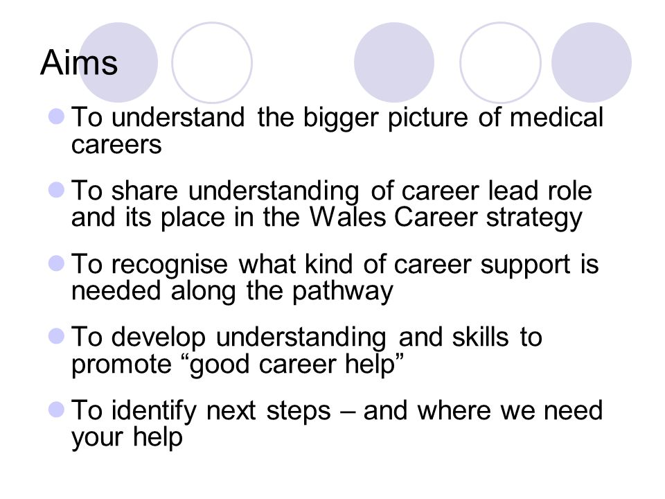 Aims To understand the bigger picture of medical careers To share understanding of career lead role and its place in the Wales Career strategy To recognise what kind of career support is needed along the pathway To develop understanding and skills to promote good career help To identify next steps – and where we need your help