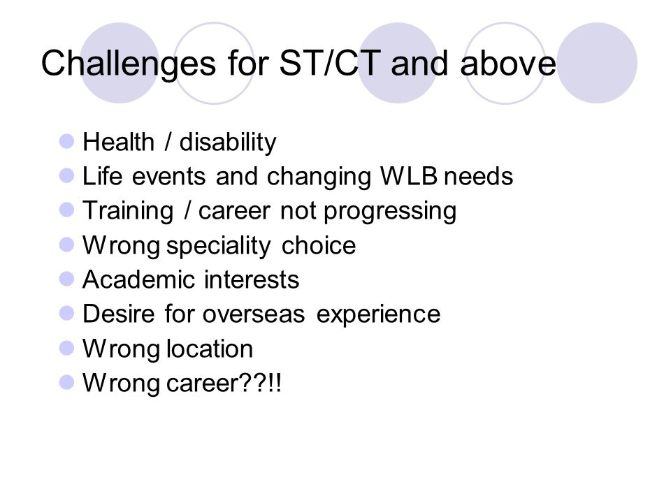 Challenges for ST/CT and above Health / disability Life events and changing WLB needs Training / career not progressing Wrong speciality choice Academic interests Desire for overseas experience Wrong location Wrong career??!!