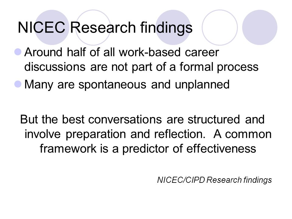 NICEC Research findings Around half of all work-based career discussions are not part of a formal process Many are spontaneous and unplanned But the best conversations are structured and involve preparation and reflection.