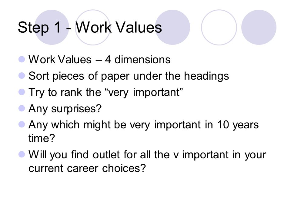 Step 1 - Work Values Work Values – 4 dimensions Sort pieces of paper under the headings Try to rank the very important Any surprises.