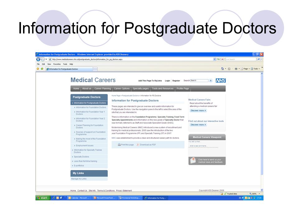 Information for Postgraduate Doctors
