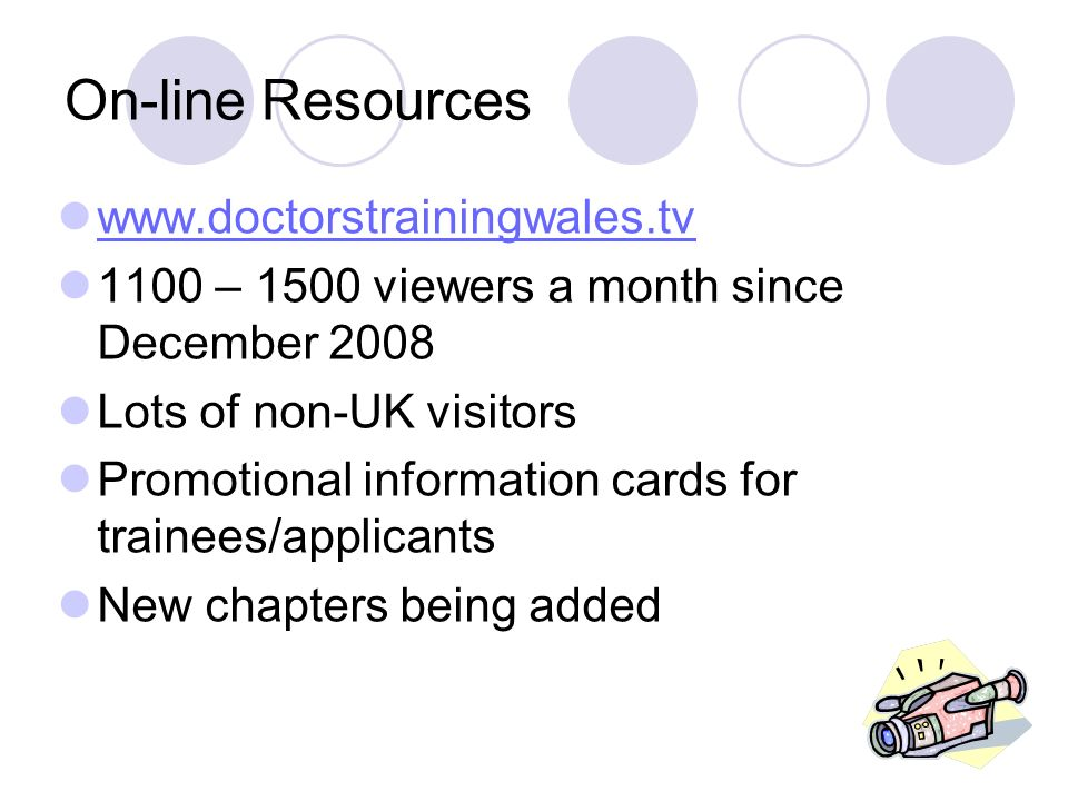 On-line Resources www.doctorstrainingwales.tv 1100 – 1500 viewers a month since December 2008 Lots of non-UK visitors Promotional information cards for trainees/applicants New chapters being added