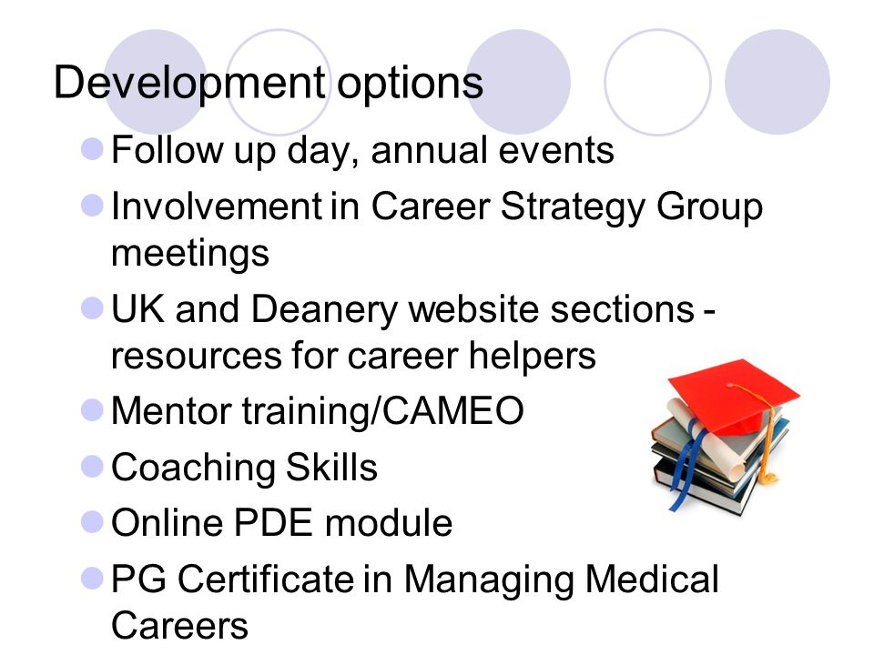 Development options Follow up day, annual events Involvement in Career Strategy Group meetings UK and Deanery website sections - resources for career helpers Mentor training/CAMEO Coaching Skills Online PDE module PG Certificate in Managing Medical Careers