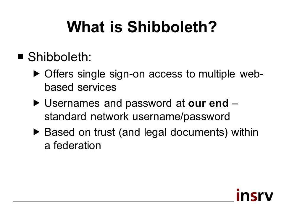 Shibboleth and Federations Federation... WAYF