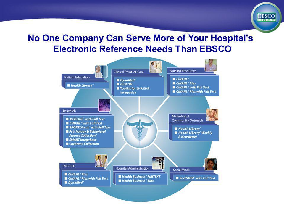 EBSCOhost for Medical Institutions No One Company Can Serve More of Your Hospitals Electronic Reference Needs Than EBSCO