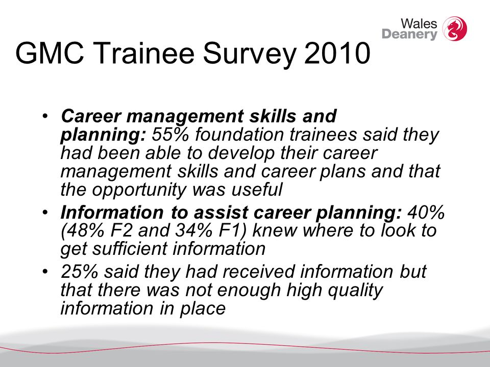 GMC Trainee Survey 2010 Career management skills and planning: 55% foundation trainees said they had been able to develop their career management skills and career plans and that the opportunity was useful Information to assist career planning: 40% (48% F2 and 34% F1) knew where to look to get sufficient information 25% said they had received information but that there was not enough high quality information in place