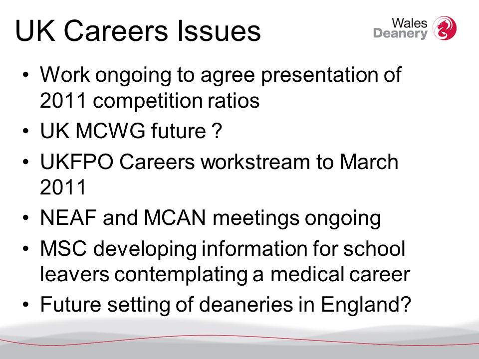 Workforce – many sources NLIAH report – overview and speciality reports CFWI report – reducing numbers in some specialities Collins report on Foundation programme – Autumn 2010 BMA Cohort Study – 4 th report UKFPO warns of shortfall of F1 posts for 2011 – September 2010 Junior doctors desert the NHS – Times, Sept 2010