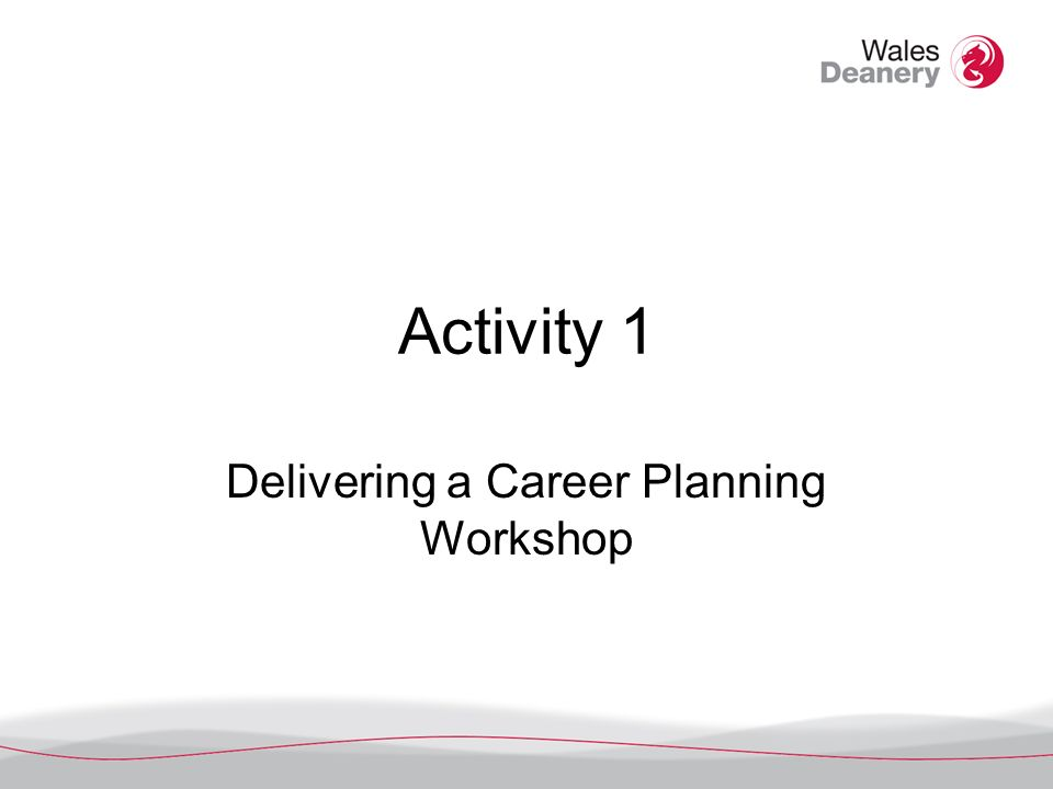 Activity 1 Delivering a Career Planning Workshop