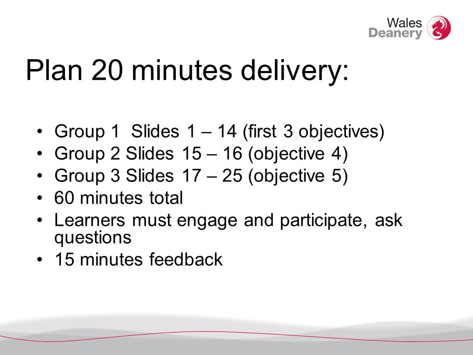 Plan 20 minutes delivery: Group 1 Slides 1 – 14 (first 3 objectives) Group 2 Slides 15 – 16 (objective 4) Group 3 Slides 17 – 25 (objective 5) 60 minutes total Learners must engage and participate, ask questions 15 minutes feedback