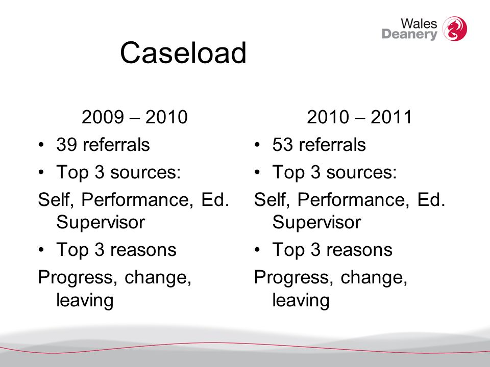Caseload 2009 – 2010 39 referrals Top 3 sources: Self, Performance, Ed.