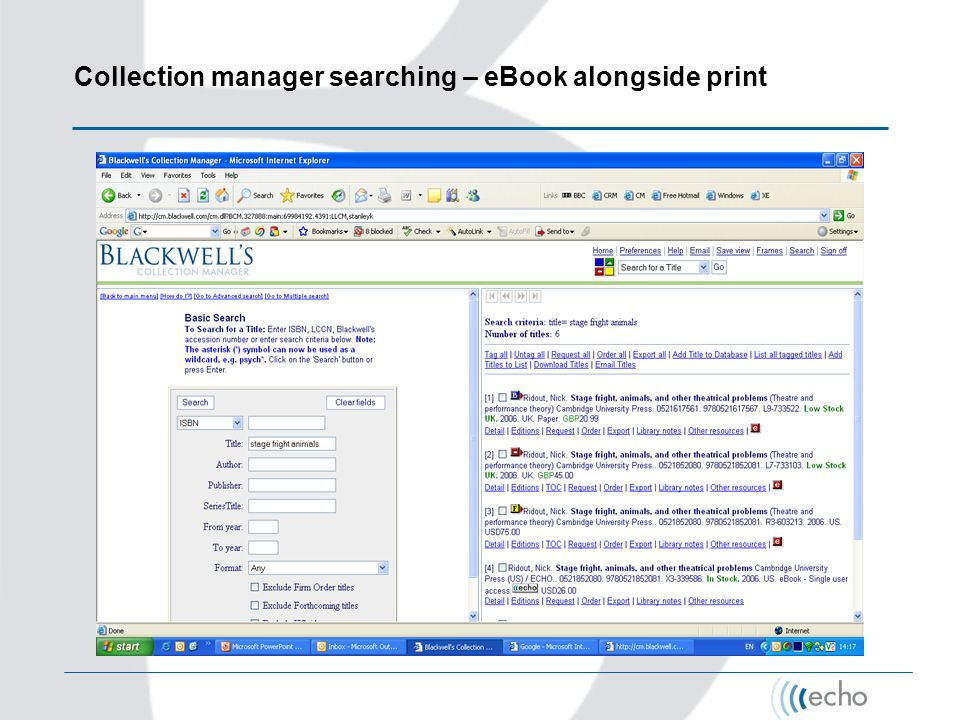 Collection manager searching – eBook alongside print