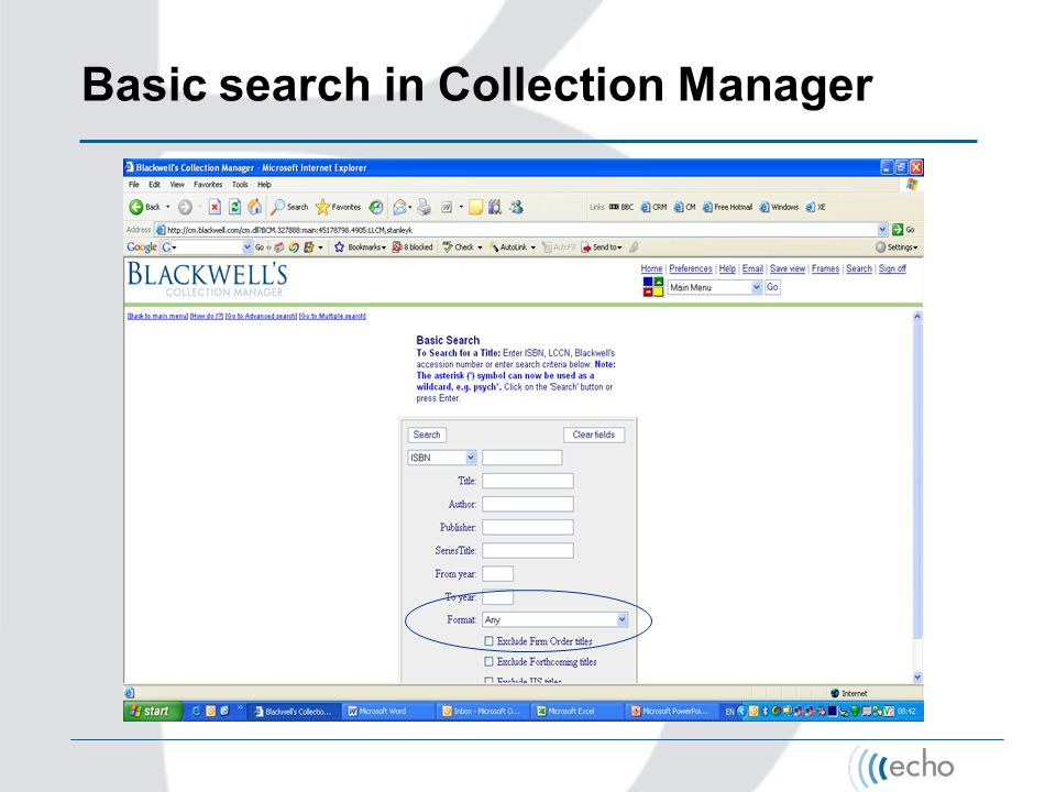 Basic search in Collection Manager