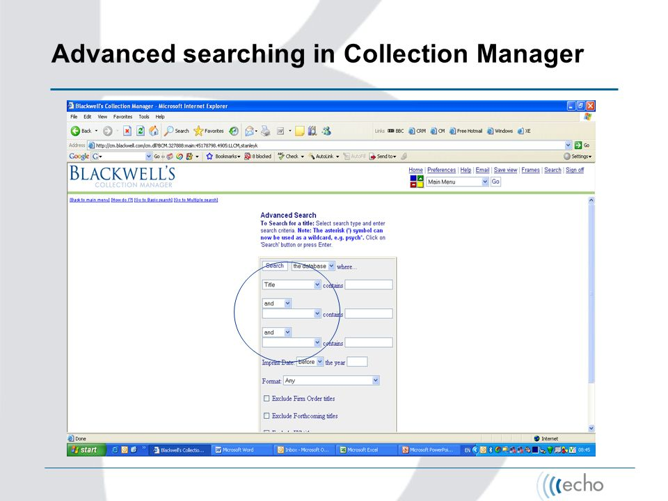 Advanced searching in Collection Manager