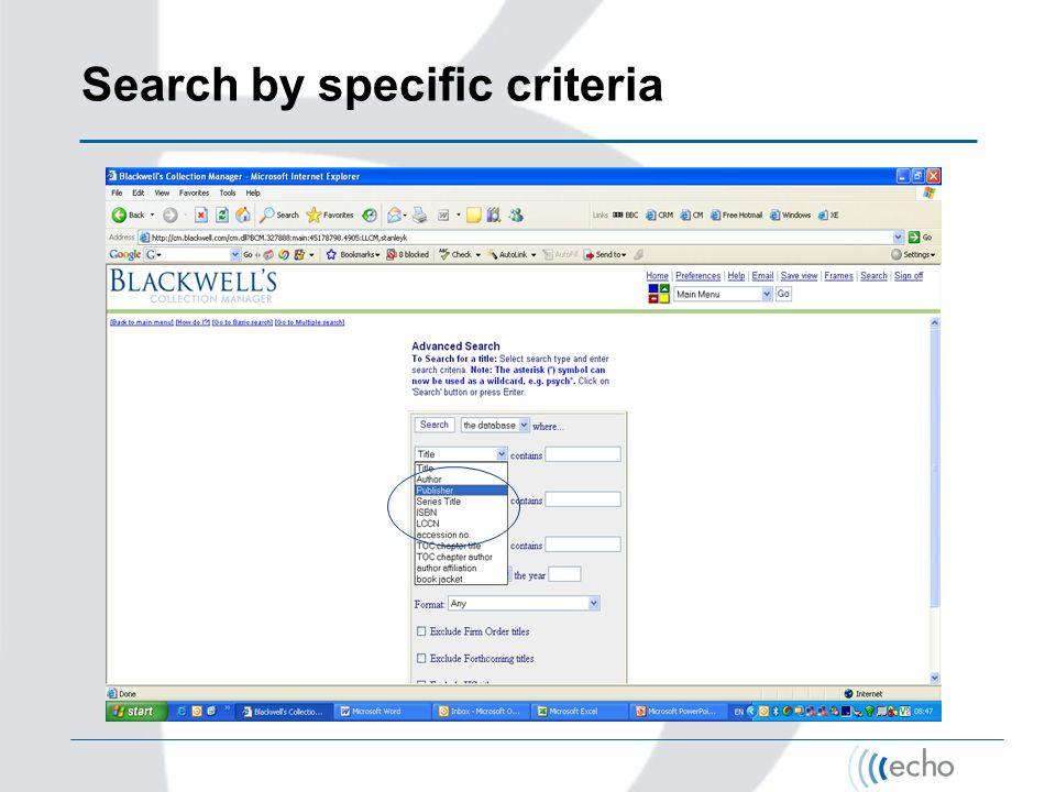 Search by specific criteria