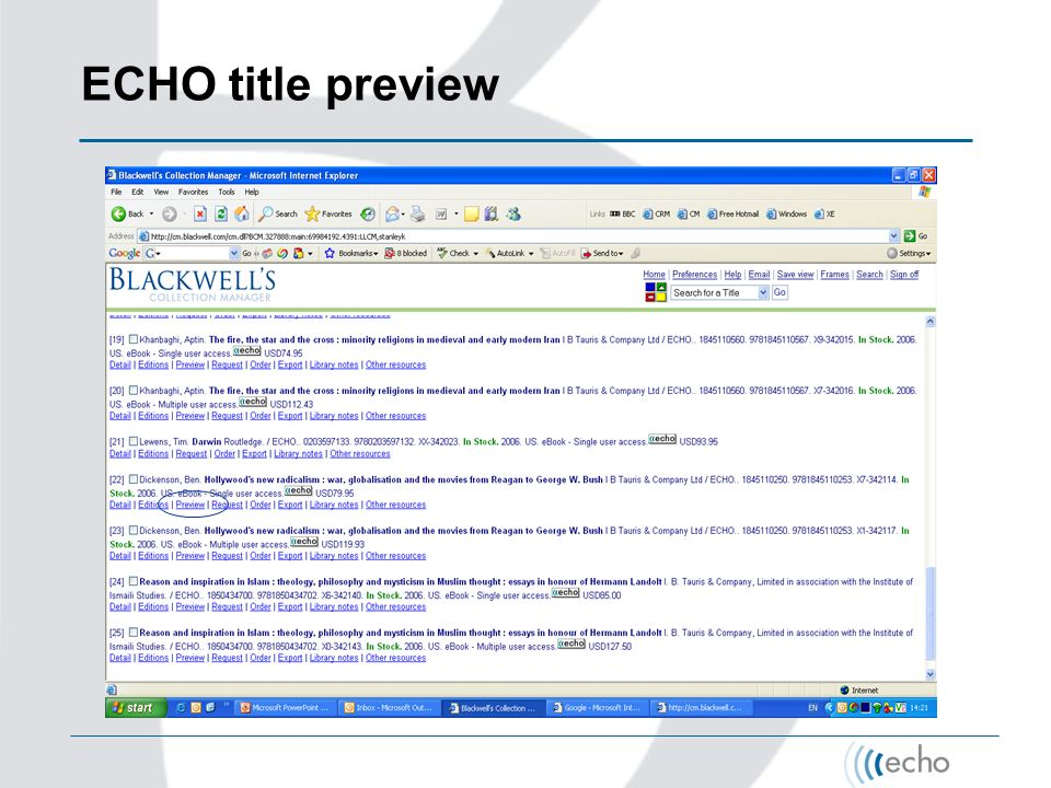 ECHO title preview