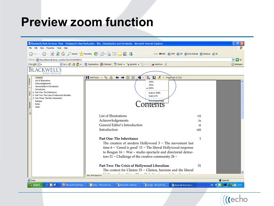 Preview zoom function