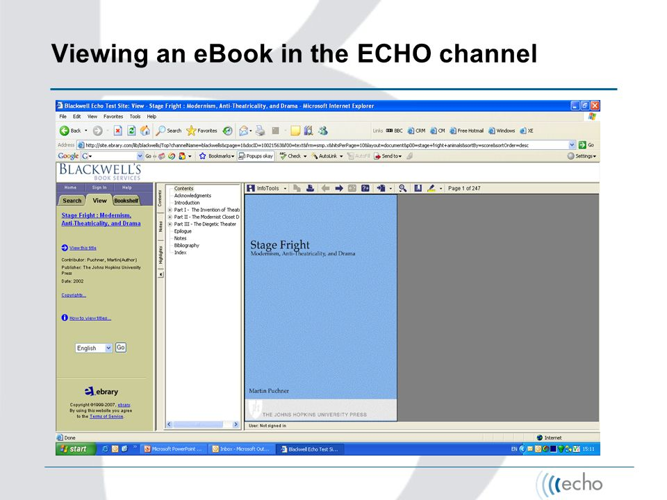 Viewing an eBook in the ECHO channel