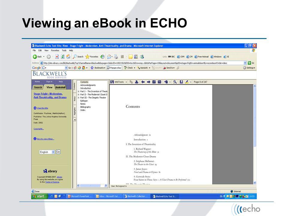 Viewing an eBook in ECHO