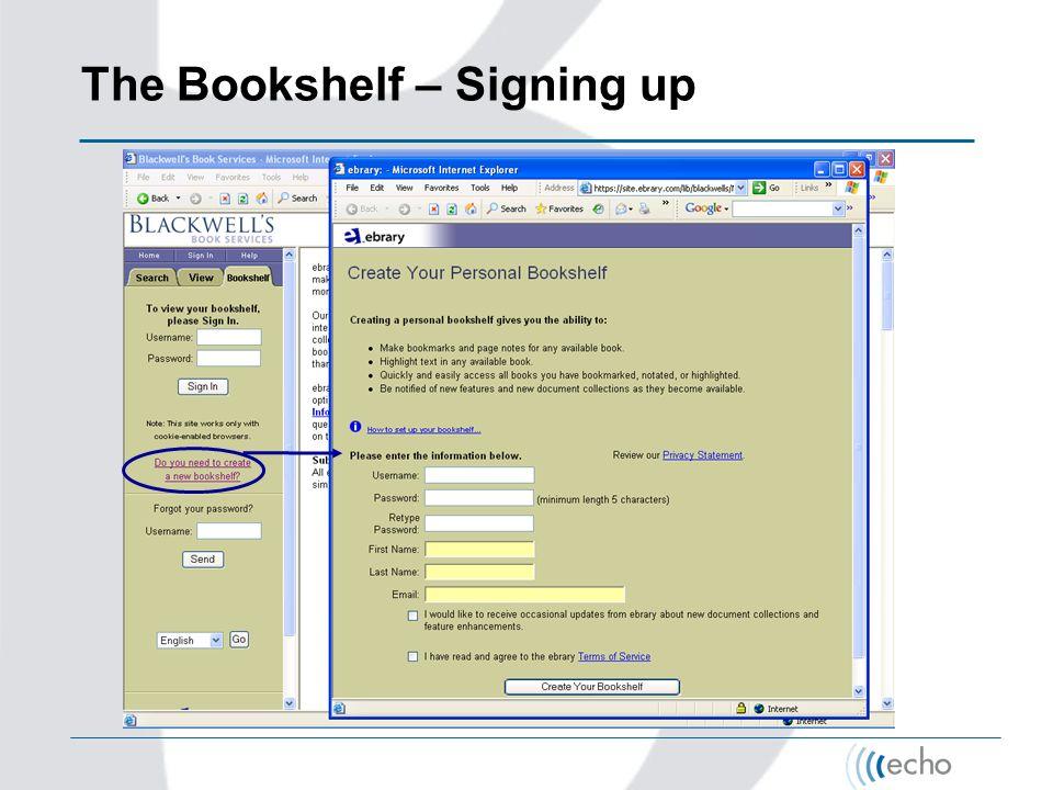 The Bookshelf – Signing up