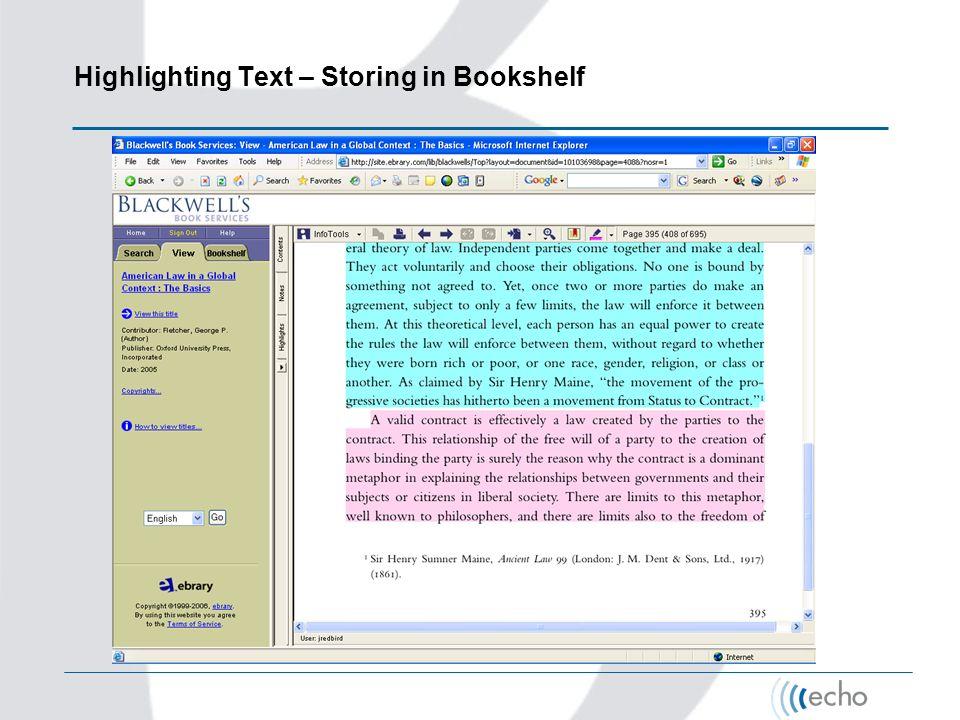 Highlighting Text – Storing in Bookshelf