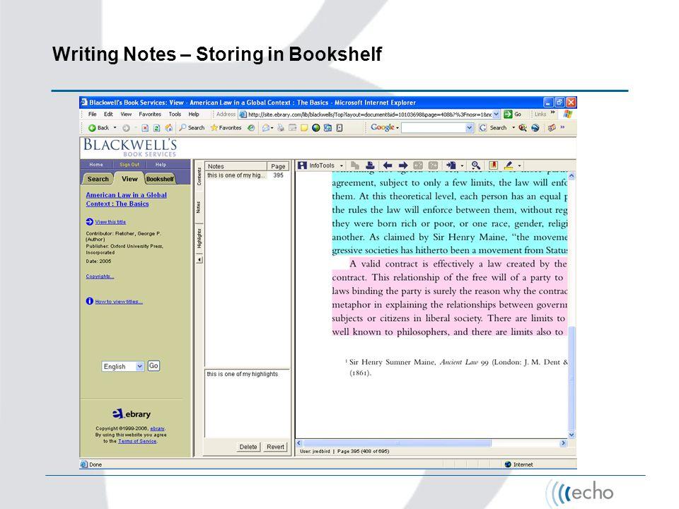 Writing Notes – Storing in Bookshelf