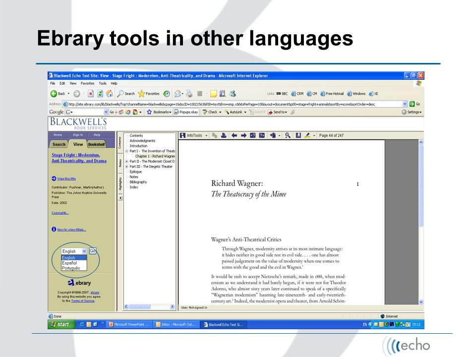 Ebrary tools in other languages