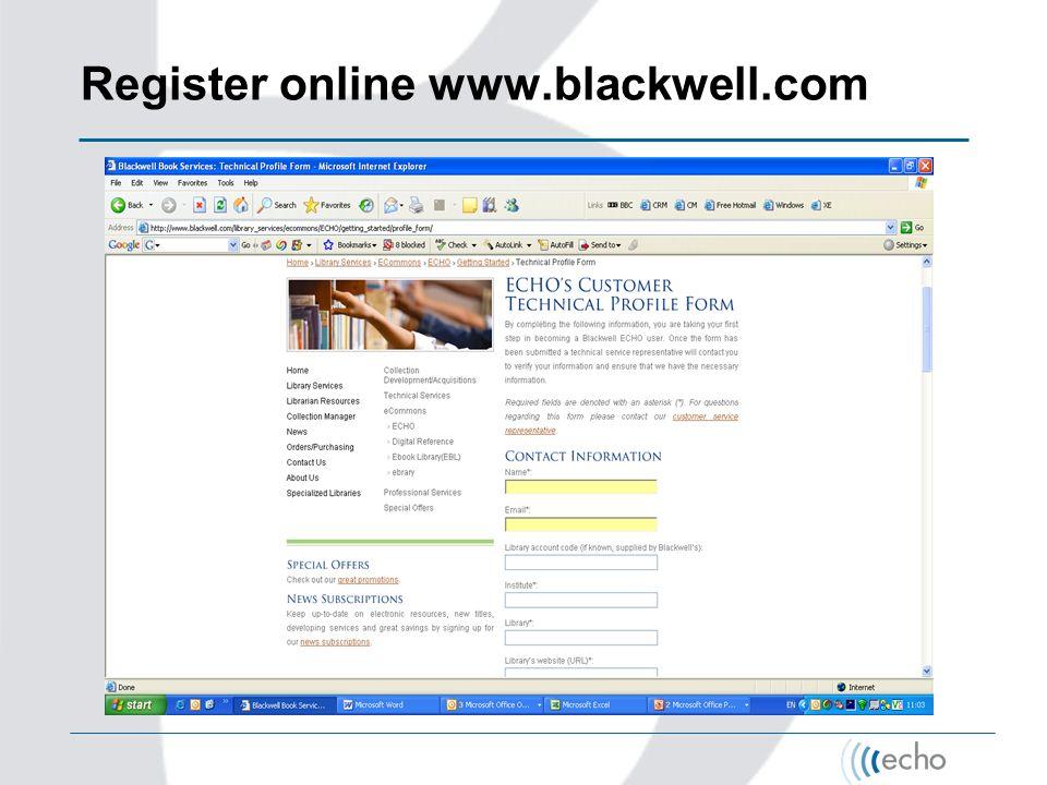 Register online www.blackwell.com