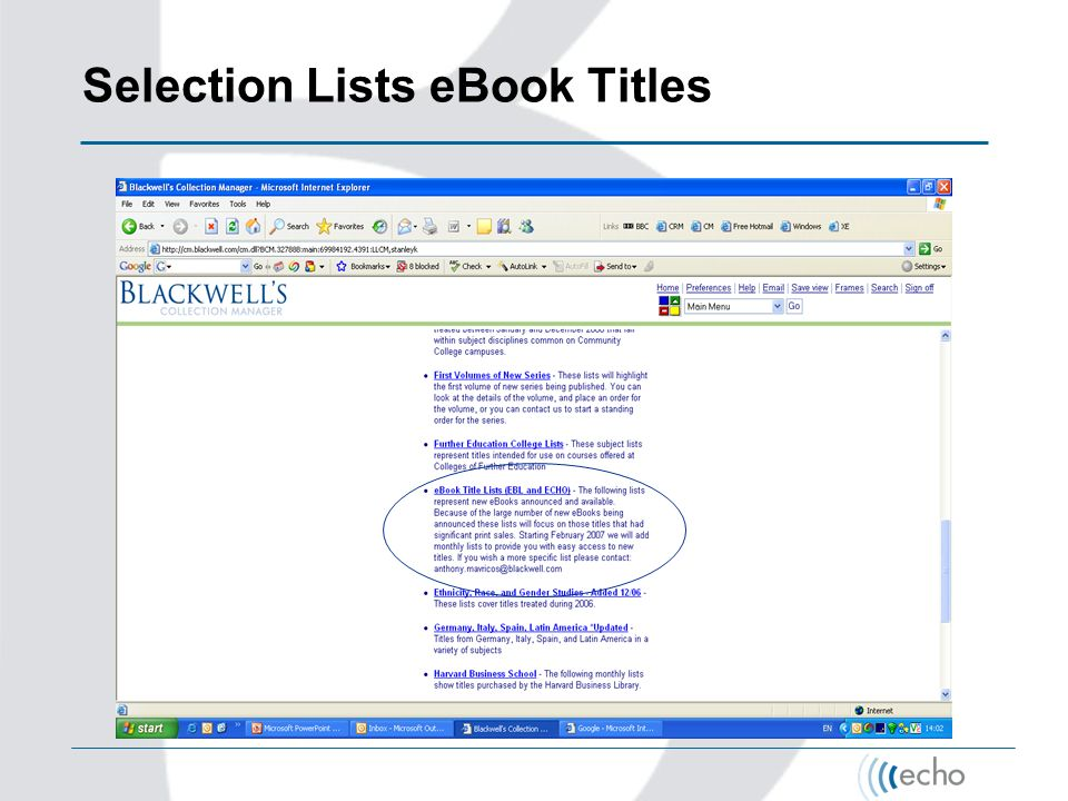 Selection Lists eBook Titles