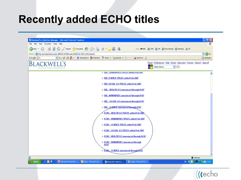 Recently added ECHO titles