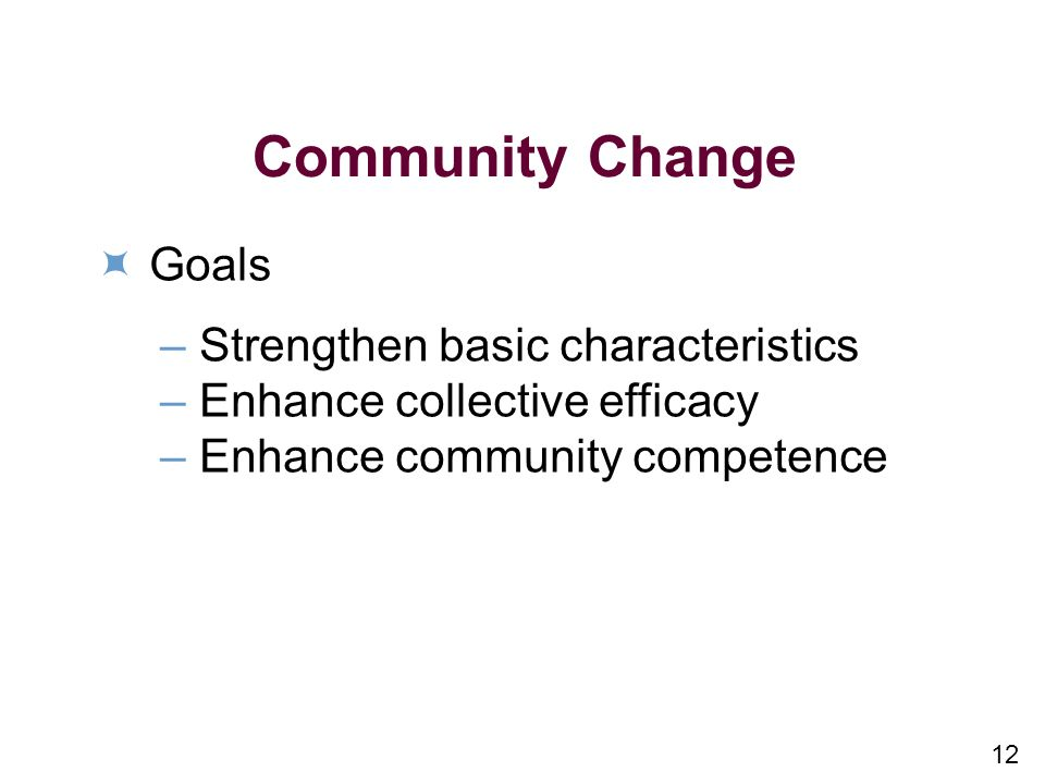 12 Community Change Goals –Strengthen basic characteristics –Enhance collective efficacy –Enhance community competence
