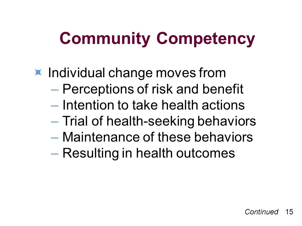 Continued 15 Community Competency Individual change moves from –Perceptions of risk and benefit –Intention to take health actions –Trial of health-seeking behaviors –Maintenance of these behaviors –Resulting in health outcomes