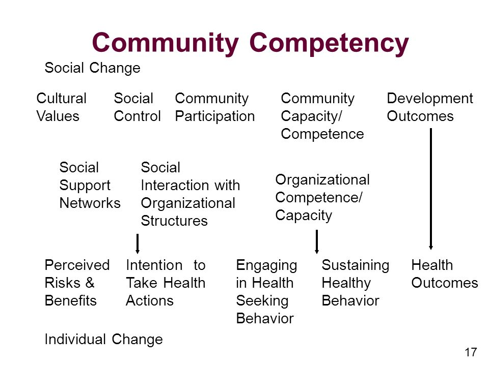 17 Community Competency Social Change Cultural Values Social Control Community Participation Community Capacity/ Competence Development Outcomes Social Support Networks Social Interaction with Organizational Structures Organizational Competence/ Capacity Perceived Risks & Benefits Intention to Take Health Actions Engaging in Health Seeking Behavior Sustaining Healthy Behavior Health Outcomes Individual Change
