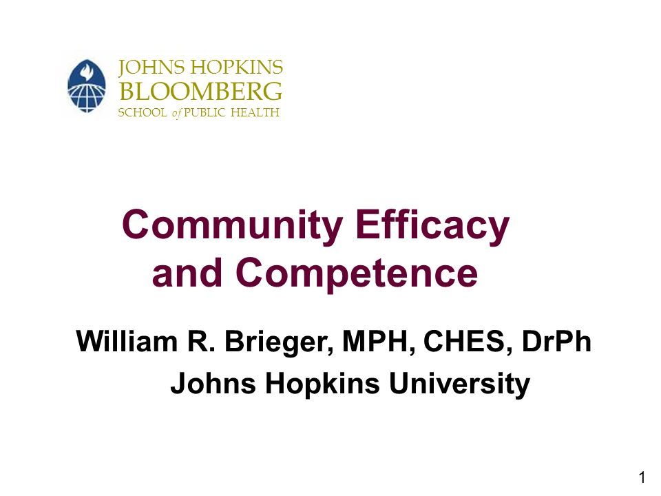 1 JOHNS HOPKINS BLOOMBERG SCHOOL of PUBLIC HEALTH Community Efficacy and Competence William R.