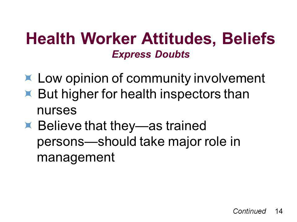 Continued 14 Health Worker Attitudes, Beliefs Express Doubts Low opinion of community involvement But higher for health inspectors than nurses Believe