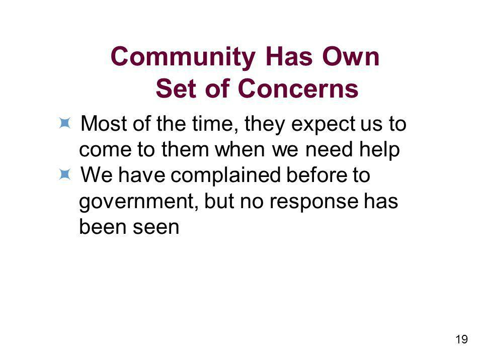 19 Community Has Own Set of Concerns Most of the time, they expect us to come to them when we need help We have complained before to government, but n