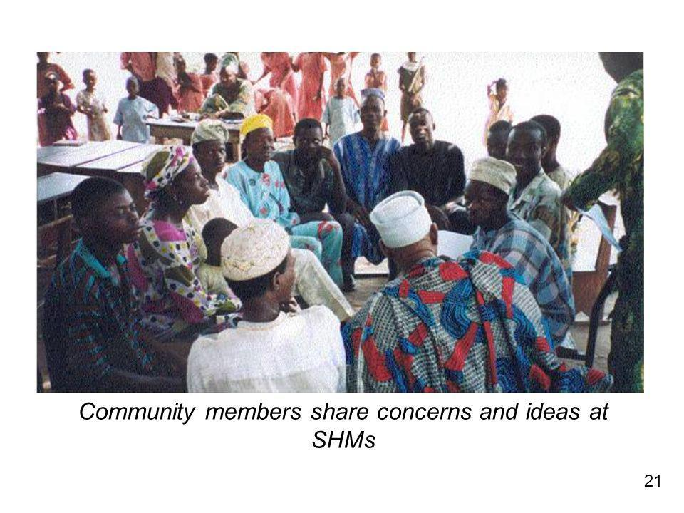 21 Community members share concerns and ideas at SHMs
