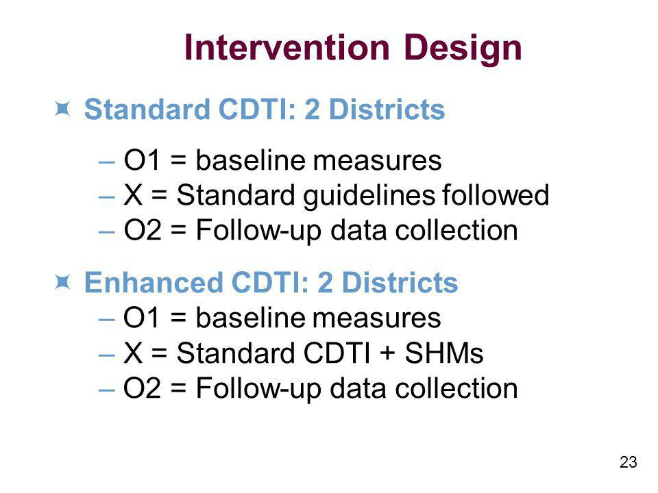 23 Intervention Design Standard CDTI: 2 Districts – O1 = baseline measures – X = Standard guidelines followed – O2 = Follow-up data collection Enhance